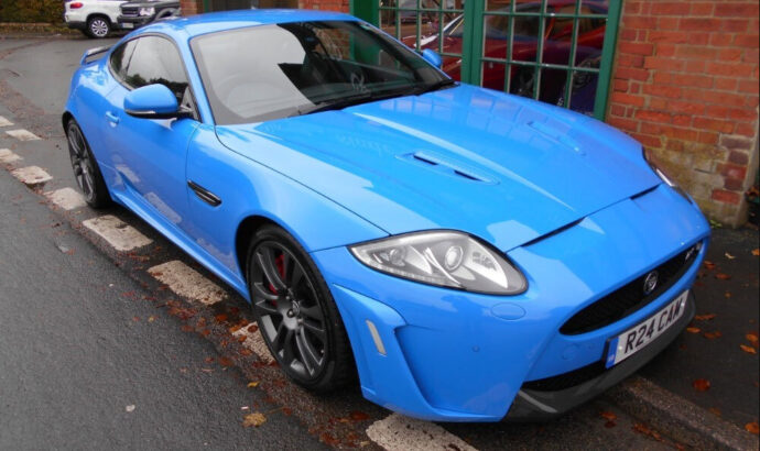 A heroic 00s Jaguar R coupe in blue for sale